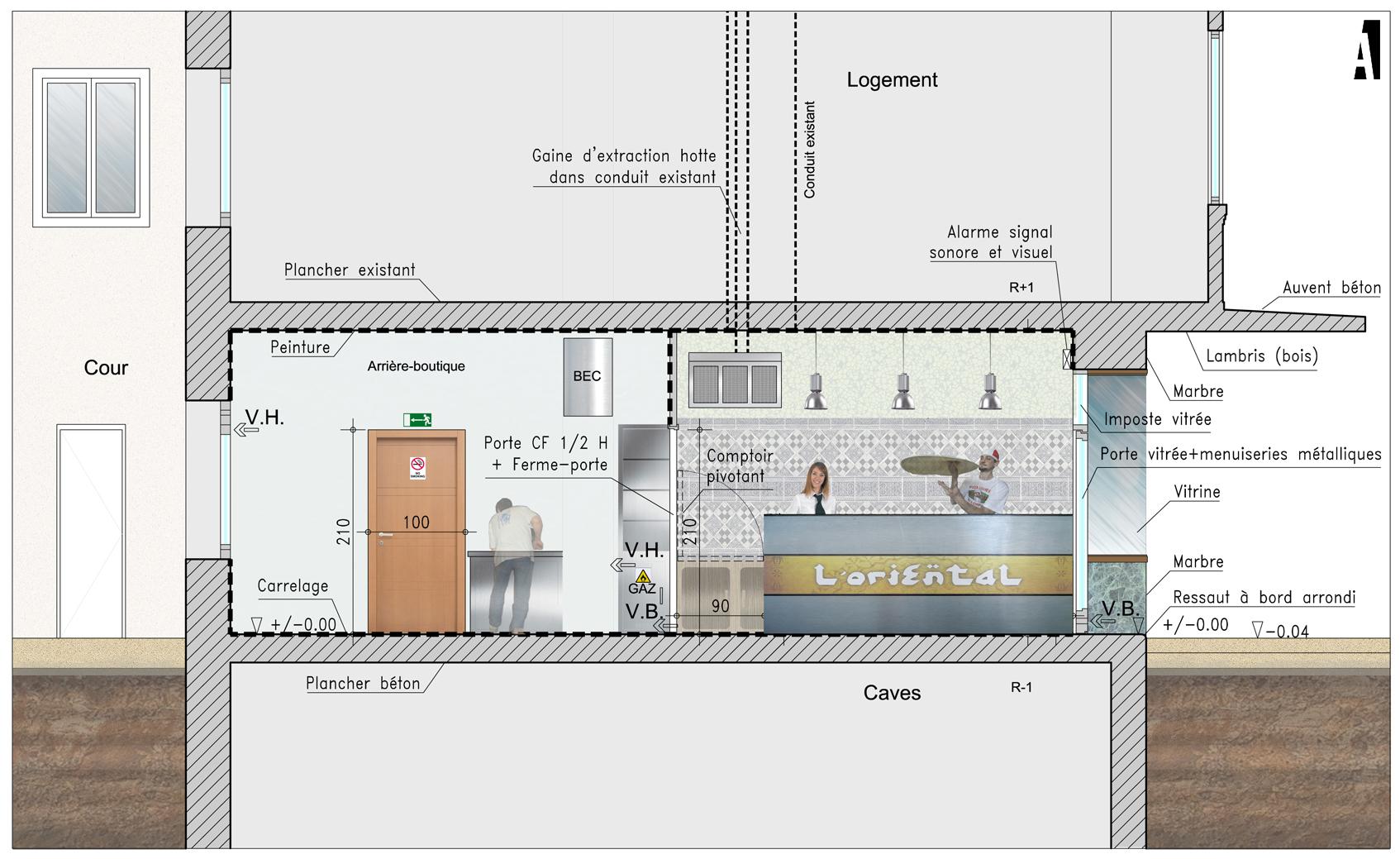 am nagement d 39 un espace de vente emporter section a architectes. Black Bedroom Furniture Sets. Home Design Ideas